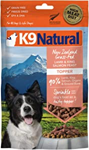 K9 Natural Grain-Free Freeze Dried Dog Food Topper or Meal Mixer, Lamb & Salmon 3.5oz