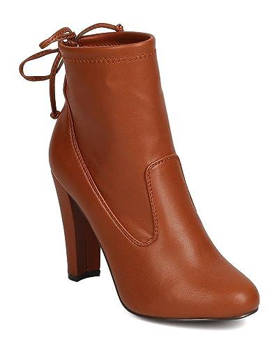 GK10 Women Leatherette Almond Toe Drawstring Chunky Heel Bootie