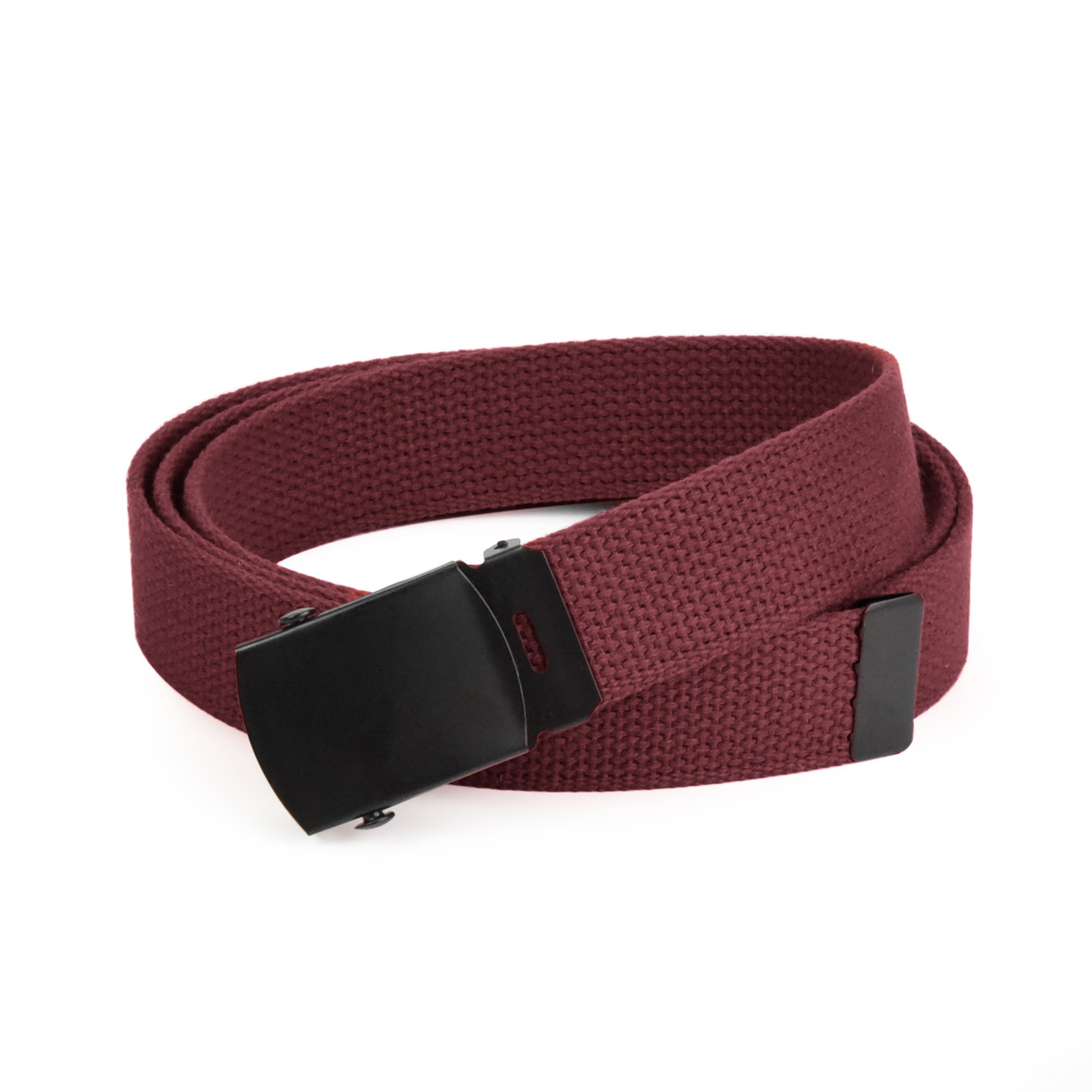 Hold'Em Military Canvas Webbing Belts for MEN'S–Black Buckle – Universal Heavy Duty Adjustable KEEP PANTS SNUG WITHOUT IRRITATING your skin-Burgundy