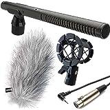 Rode NTG-2 Richtmikrofon + KEEPDRUM PCMH1 Spinne + MC-025XJ TRS/XLR Kamera-Kabel + Fell-Windschutz WSWH