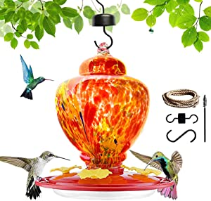 Raxurt Hummingbird Feeders for Outdoors, Upgraded Leakproof Hummingbird Feeder, Large 36oz Hand Blown Glass Decoration for Outside Garden/Backyard