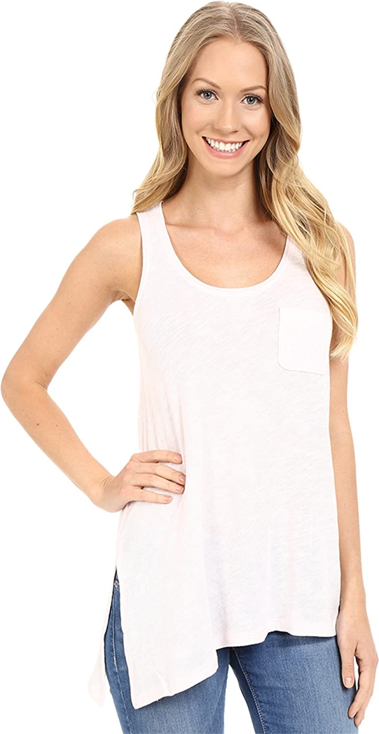 Lilla P Womens Flame Gauze Asymmetrical Pocket Front Tank Top