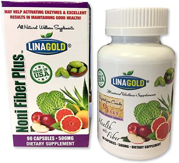 Noni Fiber Plus Flaxseed Dietary Supplement Capsules 90qty