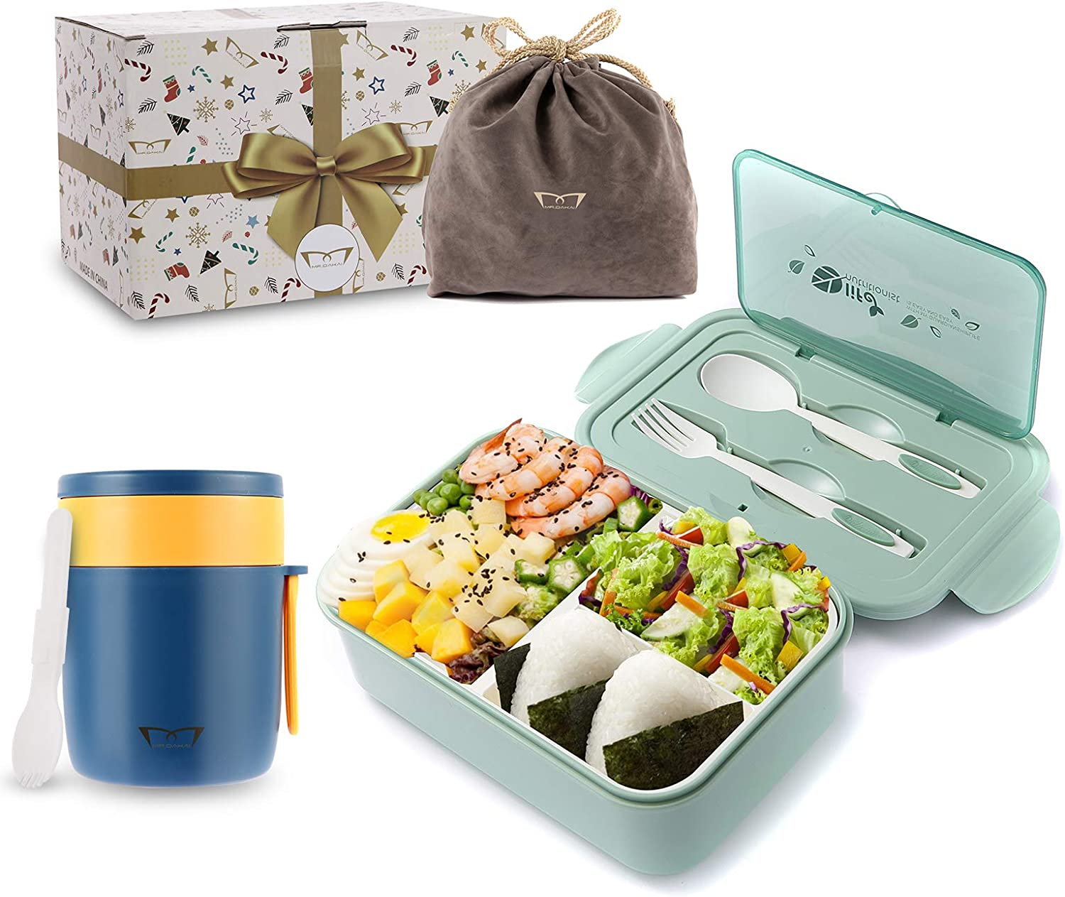 Mr.Dakai Bento Boxes Adult Kids Lunch Box with Hot Food Jar Soup Containers, Microwave Safe 3 Compartment Meal Prep Containers with Lunch Bag & Utensils, Leakproof Food Storage Set (Green & Blue)