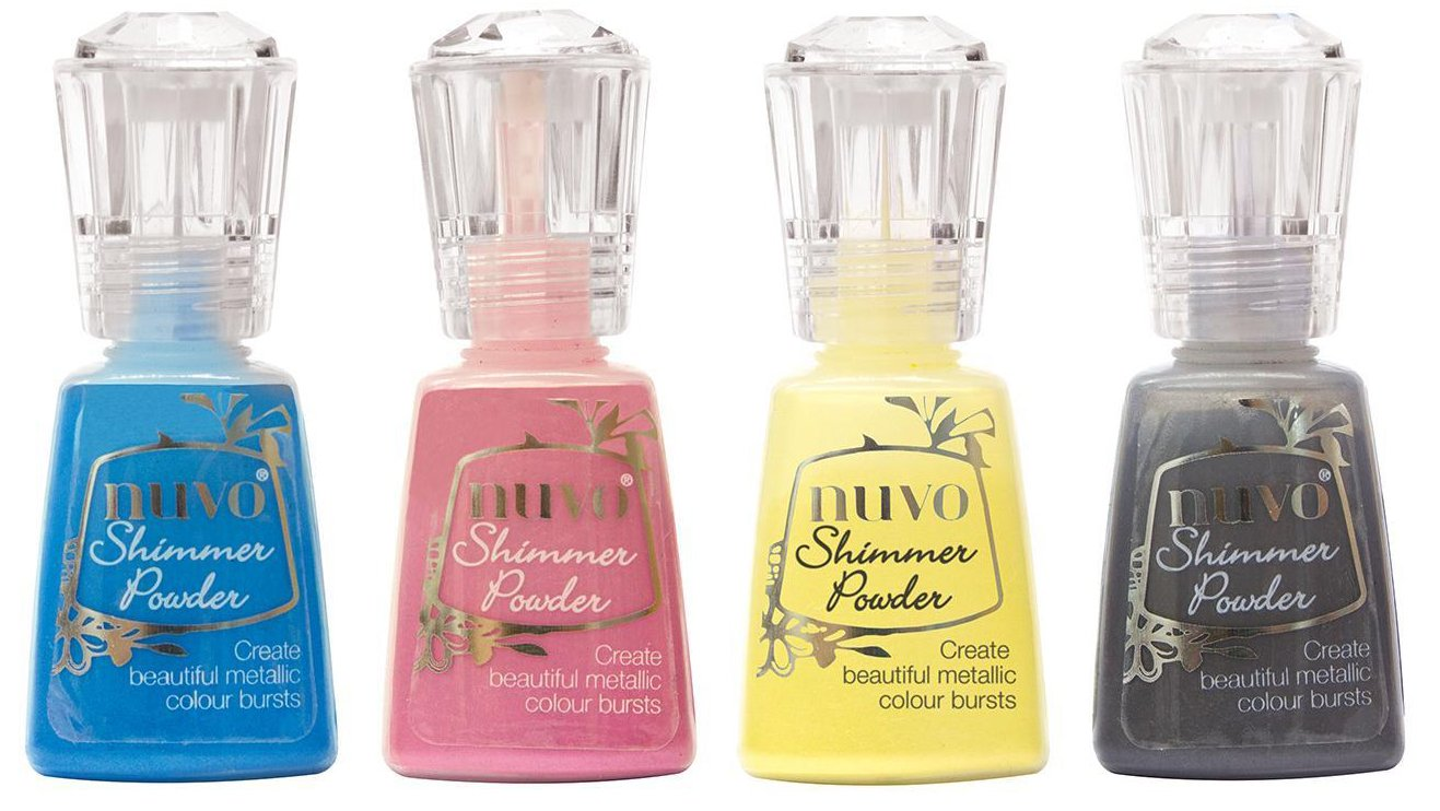 Nuvo Shimmer Powder Bold Block Bundle - Blue Blitz, Cherry, Solar Flare and Storm Cloud - 4 Bottles