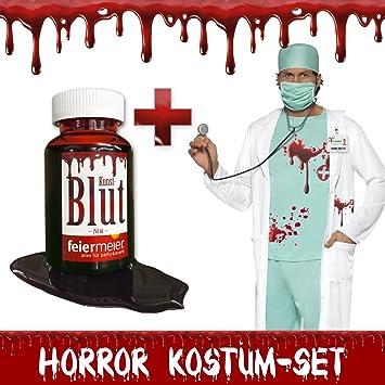 Horror Kostum Set Zombie Arzt Blutverschmiert Halloween Fasching