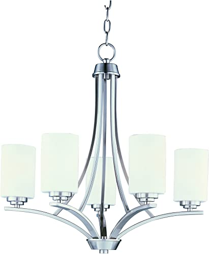 Maxim 20035SWSN Deven 5-Light Chandelier, Satin Nickel Finish, Satin White Glass, MB Incandescent Incandescent Bulb , 10W Max., Dry Safety Rating, 3000K Color Temp, Standard Triac Lutron or Leviton Dimmable, Shade Material, 587 Rated Lumens