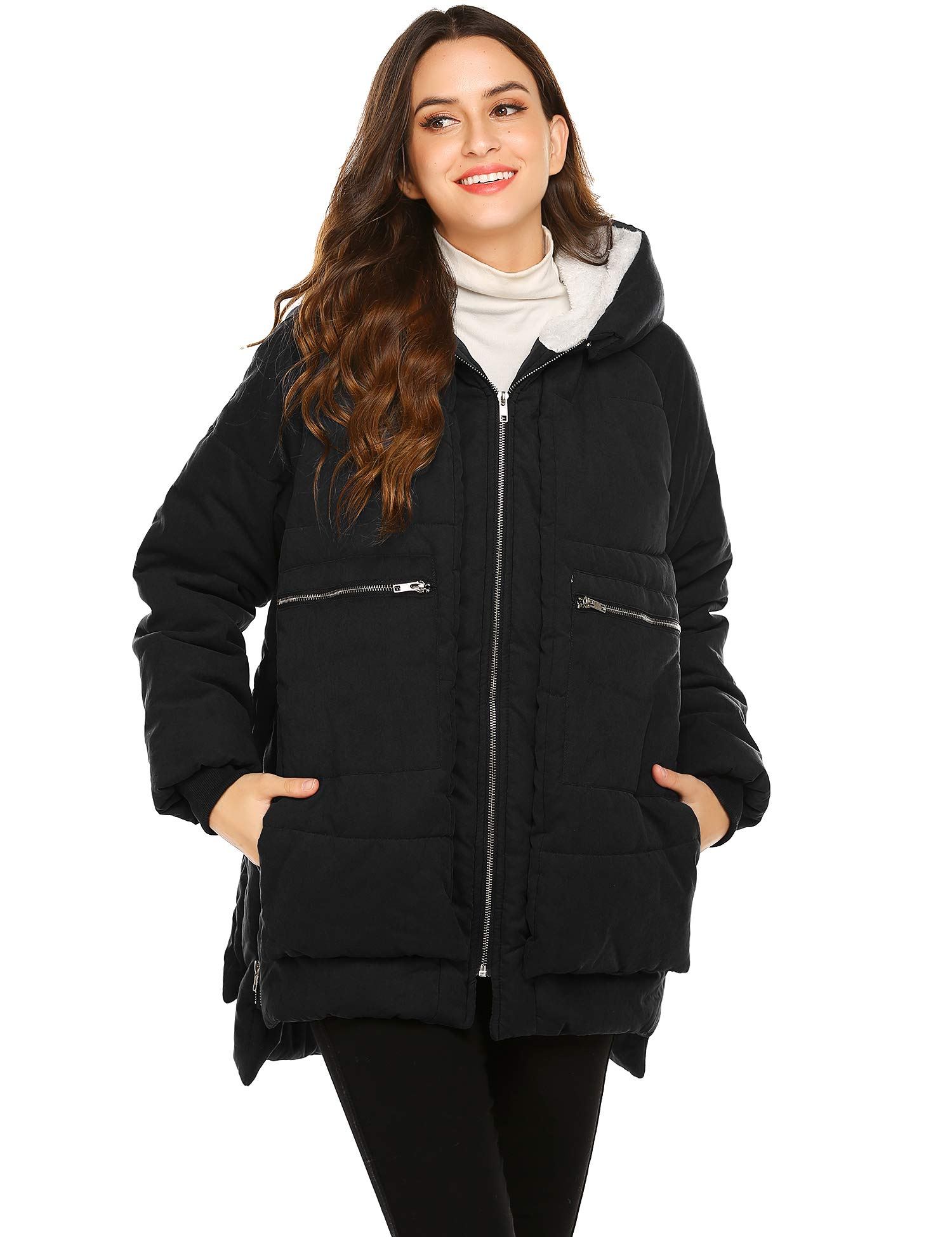 Beyove Women's Long Down Coat with Fleece Lined Hood Very Warm Zip Parka Puffer Jacket Plus Size (Black,S) by Beyove