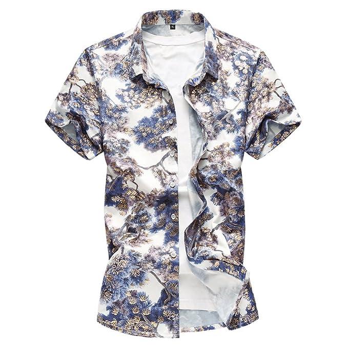 3fdb1e48c9 WanYangg Uomo Camicia Hawaiana Aloha Manica Corta Shirt A Fiori ...