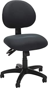OFM Core Collection 24 Hour Ergonomic Upholstered Armless Task Chair, in Charcoal