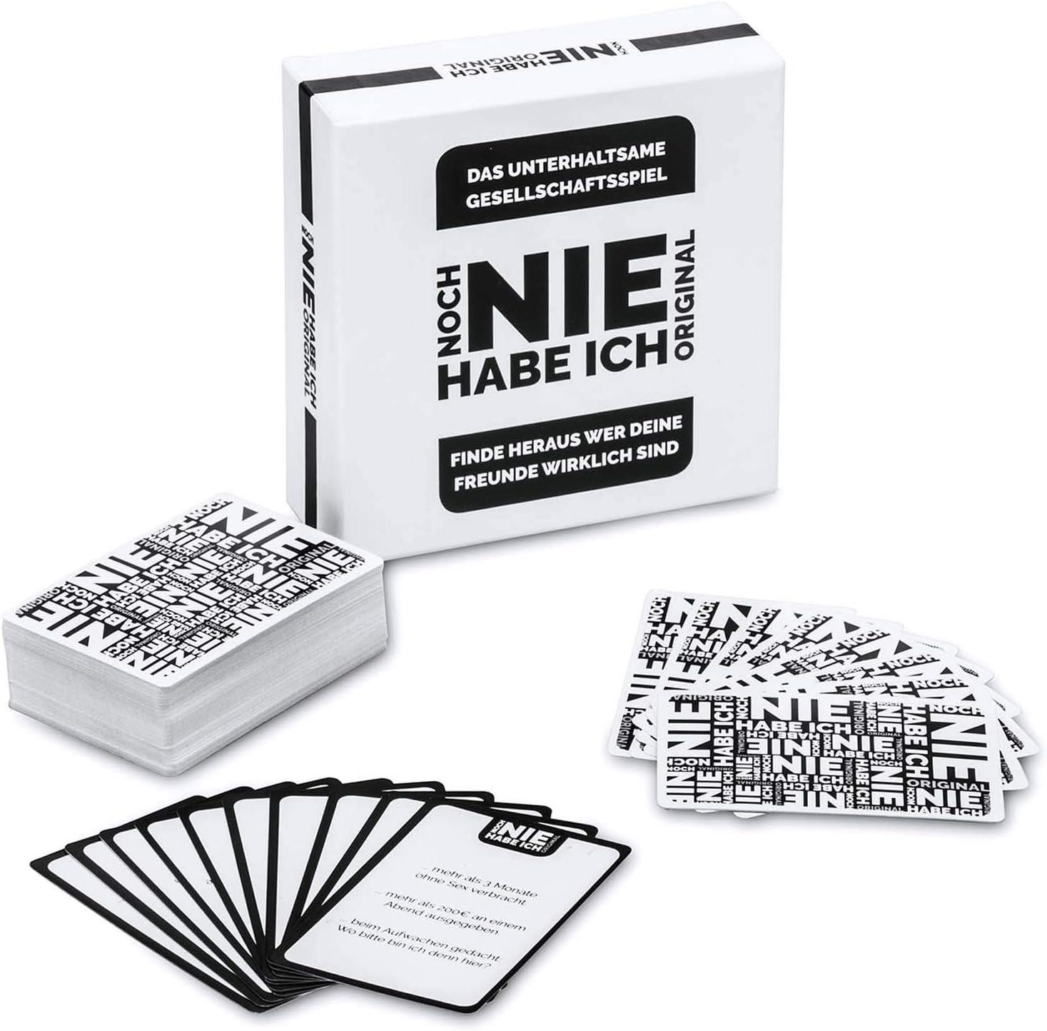 Original Partyspiel Noch Never I Have Drinking Game Juego de Cartas - Nunca he Tenido la versión Alemana Juego de salón; 2-12 Jugadores; Versión XXL con 300 Preguntas VERSIÓN Alemana