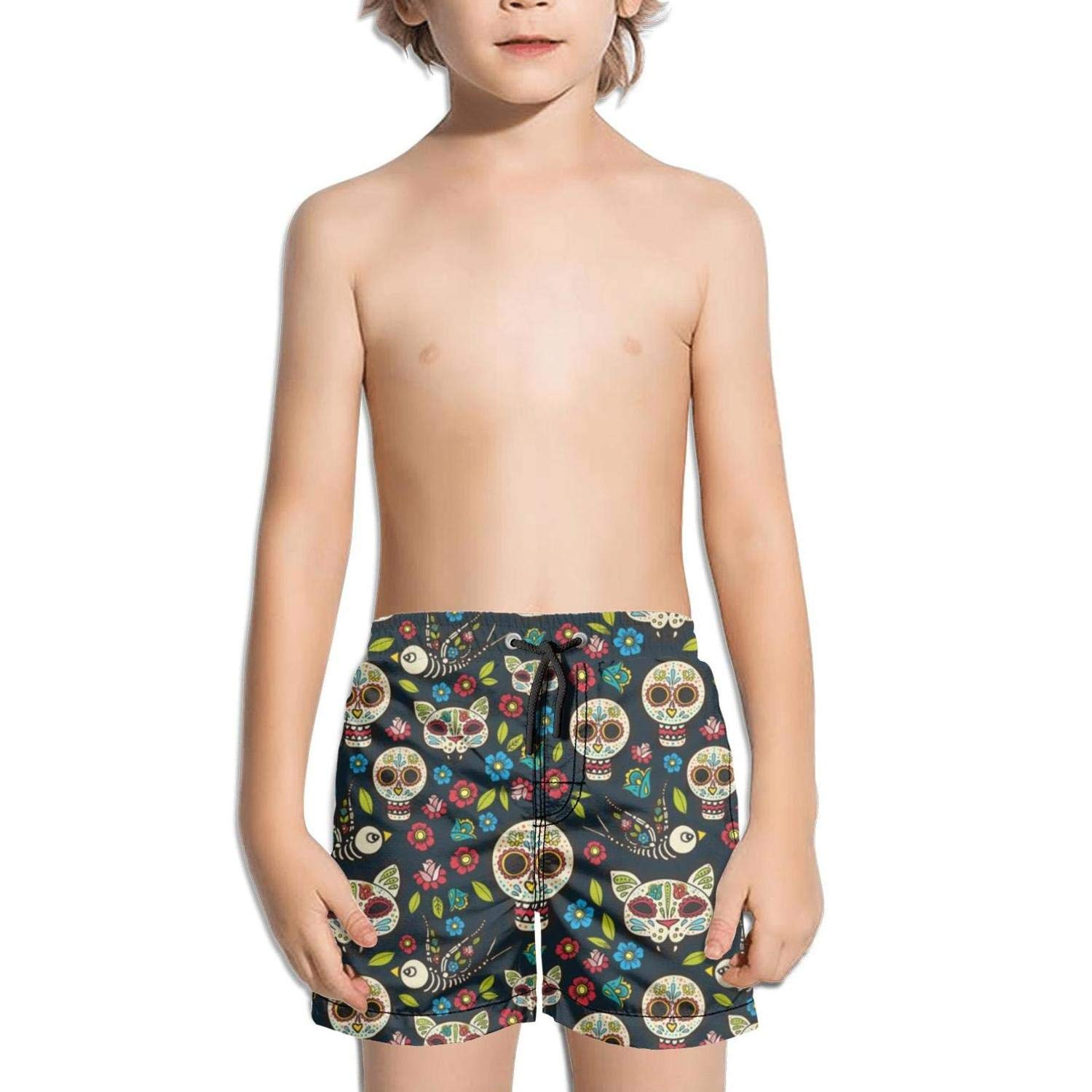 Boys Swim Trunks Colorful Skull Party Art Quick Dry Bathing Suits Beach Board Shorts