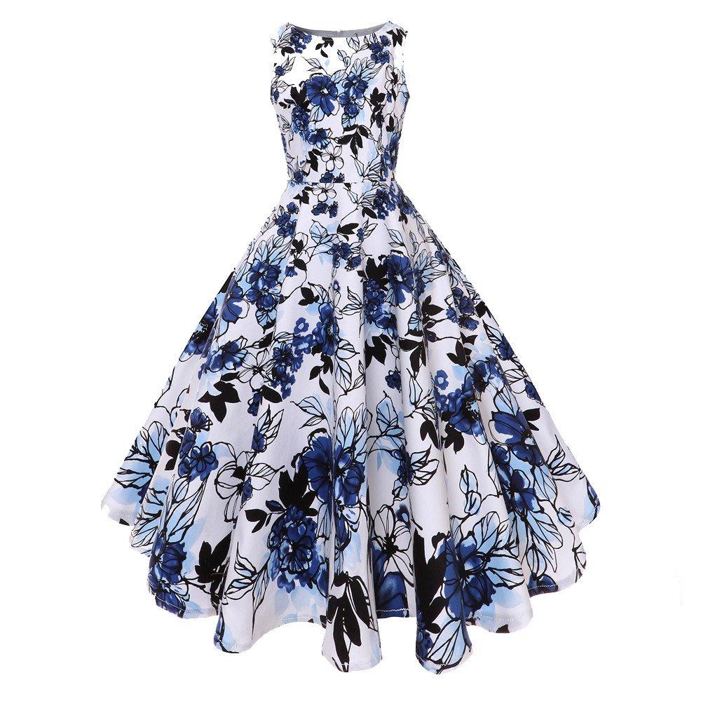 Women Vintage O Neck Floral Print Gown Sleeveless Party Prom Swing Dress Prom Dress HTDBKDBK Hepburn Skirt