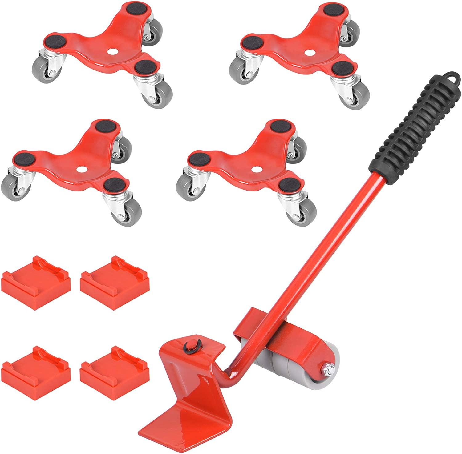 9 Pack Furniture Dolly Set, STRAWBLEAG Furniture Mover & Lifter Kit, 4 Pack Tri-Dolly with Lifter for Easy Moving Bulky & Heavy Loads in Home, Shop or Garage, Total 9 Pack 440-lb Load Capacity