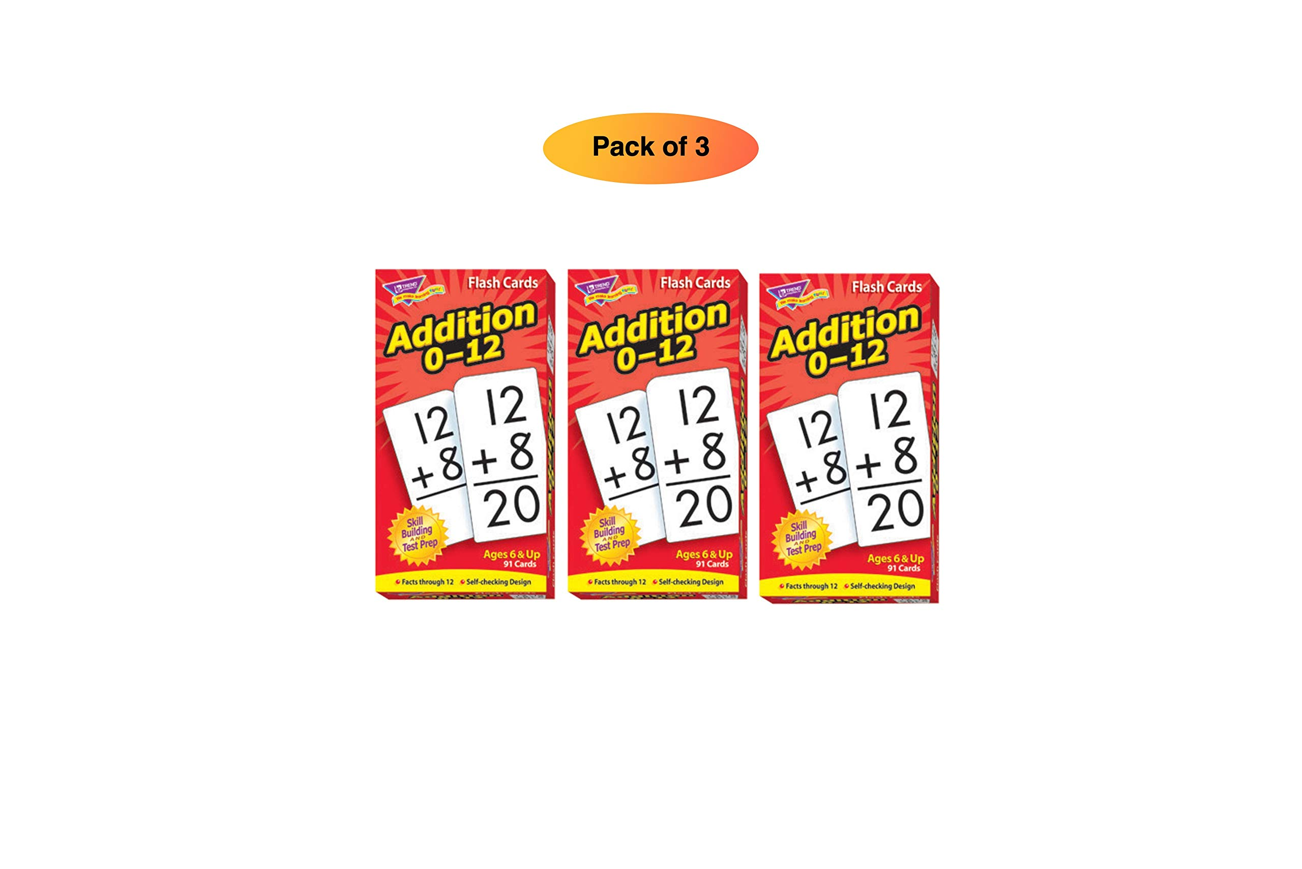 Trend Enterprises Math Flash Cards - Addition 0-12 - Pack of 91 Cards (Pack of 3) by Trend