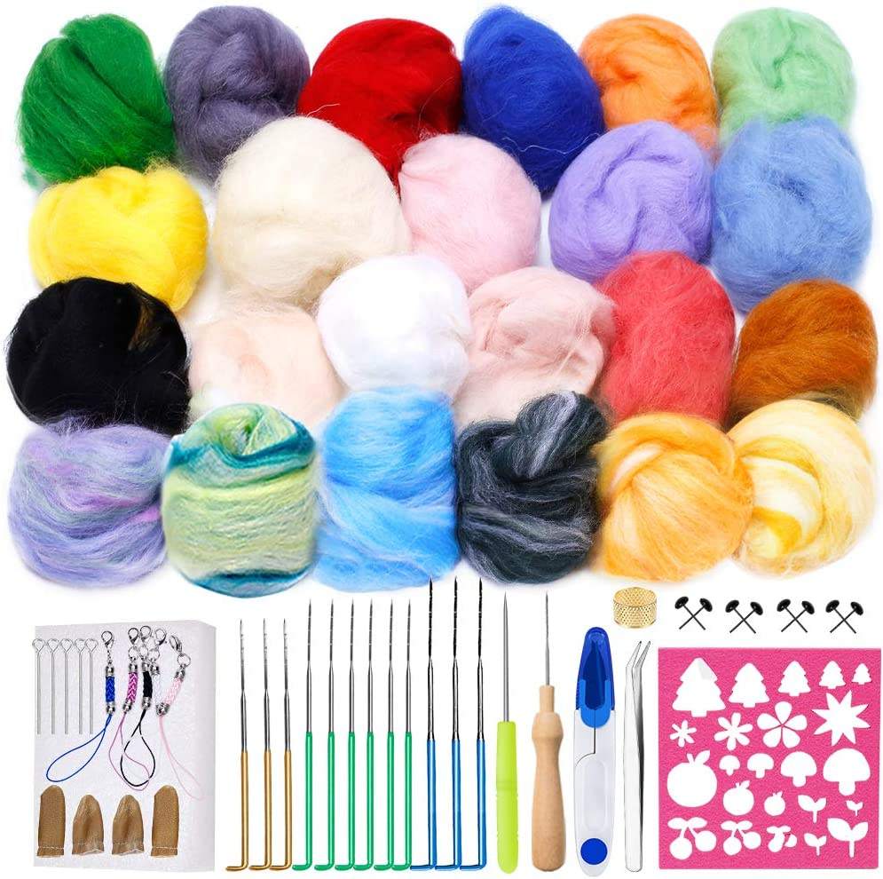 Complete Needle Felt Tools with Large Felt Molds for Beginners Wool Felting Supplies for DIY Craft Christmas Halloween Gift Upgraded 16 Colors 160g Wool Roving for Felting Needle Felting Kit