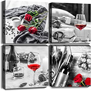 Cortolar Wine Wall Art Black and White Red Rose Painting Flower Canvas Print Floral Picture Artwork for Dining Room Kitchen Bedroom Decor (12