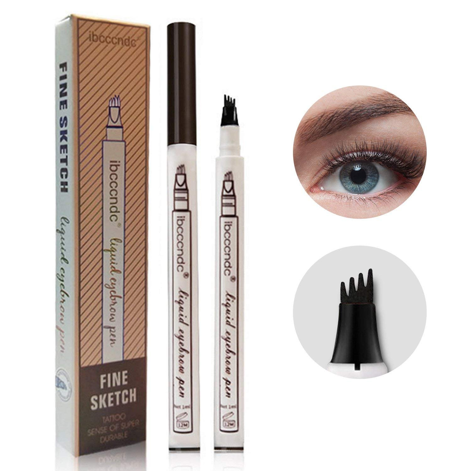 Tattoo Eyebrow Pen Waterproof Ink Gel Tint with Four Tips, Long Lasting Smudge-Proof Natural Hair-Like Defined Brows All Day for Eye Makeup(Chestnut)