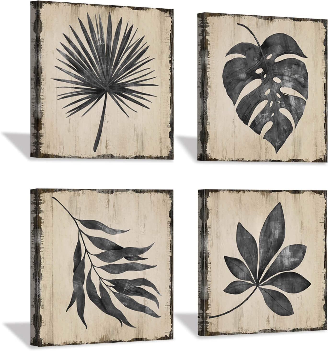 """Bathroom Wall Art Leaves Grey: Rustic Wooden Texture Style Background Tropical Botanical Artwork Print on Canvas for Home Decor (12"""" x 12"""" x 4 Panels)"""
