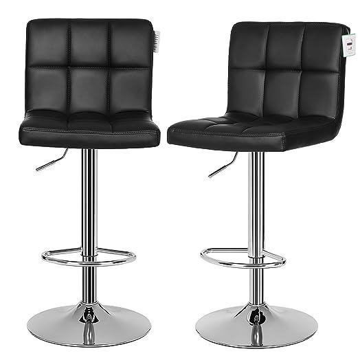 songmics 2 x bar stools height adjustable kitchen breakfast stools black ljb64buk