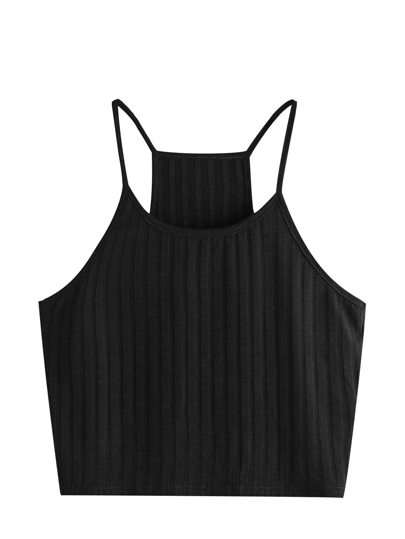 SheIn(シーイン)レディースサマークロップトップ ベーシック セクシー ストラップ ノースリーブ レーサーバック B07C77JFVT Medium|Black#1 Black#1 Medium