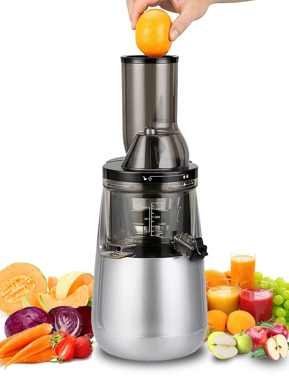 """Slow Masticating Juicer by Tiluxury, Low Speed With Wide Chute Anti-Oxidation,Whole Fruit and Vegetable Vertical Cold Press Juicers(250W AC Motor,40 RPMs,3"""" Big Mouth),BPA Free (Silver Gray)"""