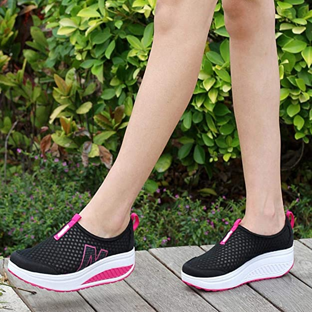 HTHJSCO Ladies Toning Rocker Shoes Womens Mesh Slip On Wedges Platform Walking Shoes Breathable Casual Shoes Sneakers