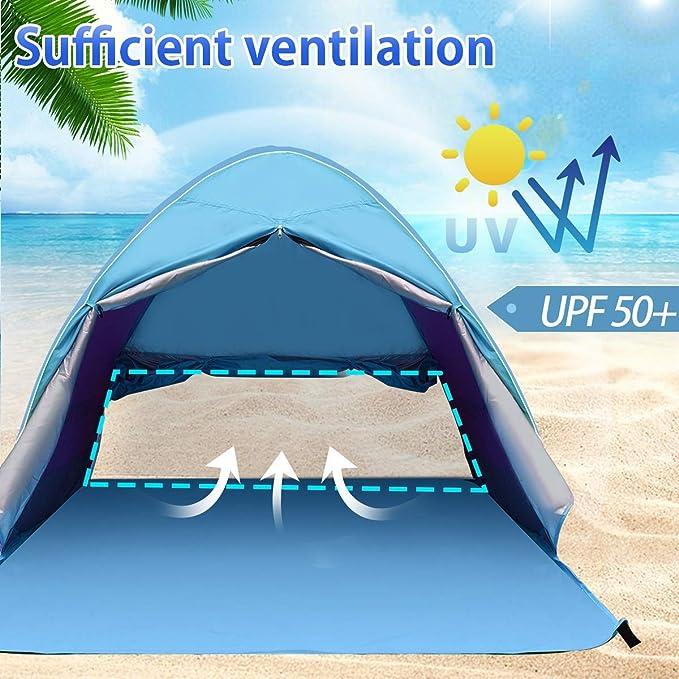 BACKTURE Tienda de Playa, Anti-UV Protección Solar Pop Up Tienda de Campaña para 2-3 Personas, Tienda Instantánea Resistente al Agua y Duradera con ...