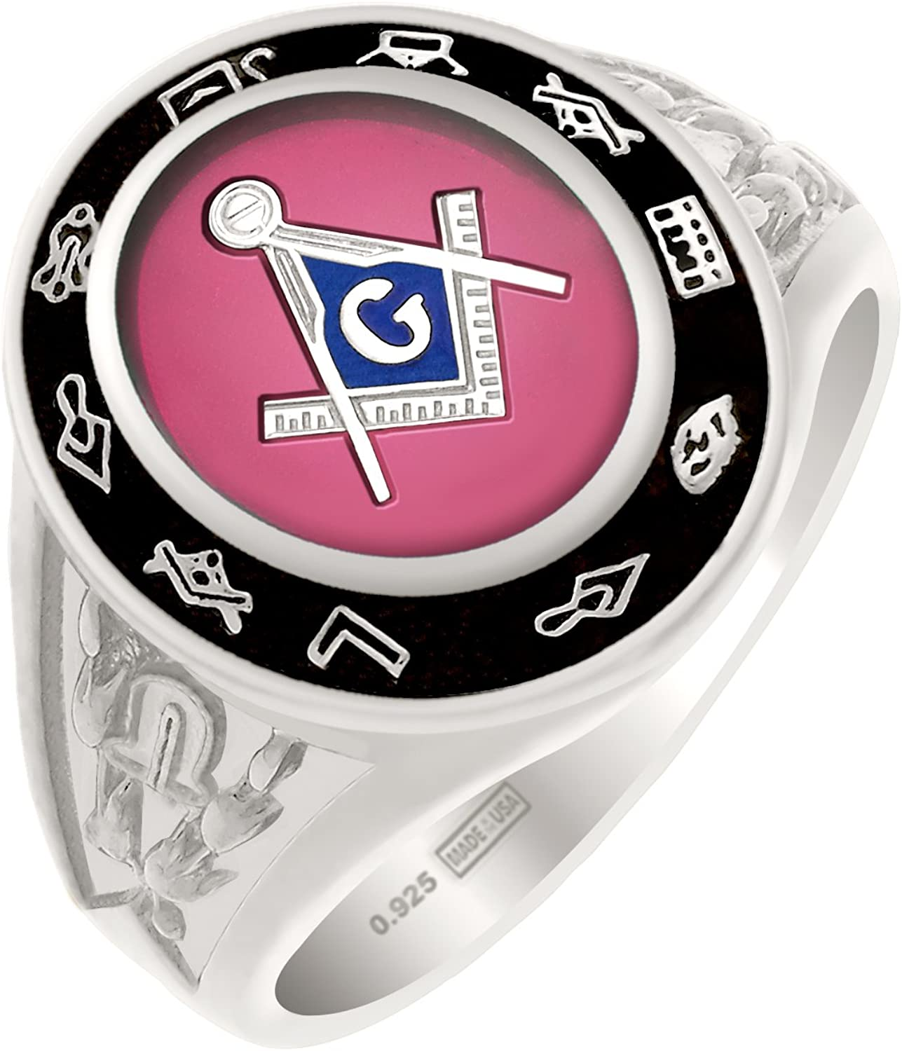US Jewels And Gems Mens Customizable Solid Back Solid 0.925 Sterling Silver Rhodium Plated Masonic Ring