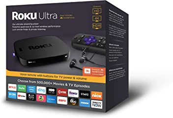 Roku Ultra | 4K/HDR/HD Streaming Player with Premium JBL Headphones, Voice Remote, Remote Finder, Ethernet and USB (2018)