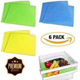 Produce Life Extender Liner Pack Of 6 By Ishode: Fruit And Vegetable Preserver For Refrigerator Drawers And Shelves, Keeps Veggies Fresh And Healthy, Prevents Food Spoilage And Mildew