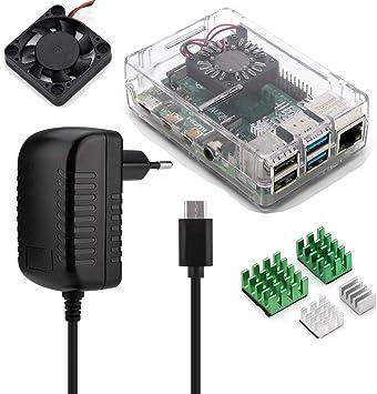 Aukru Kit 4-en-1 para Raspberry Pi 4 Modelo B, Incluye Caja Transparente, 5V 3A USB Tipo c Cargador Fuente de alimentación, disipador térmico y Mini Fan Ventilador: Amazon.es: Electrónica