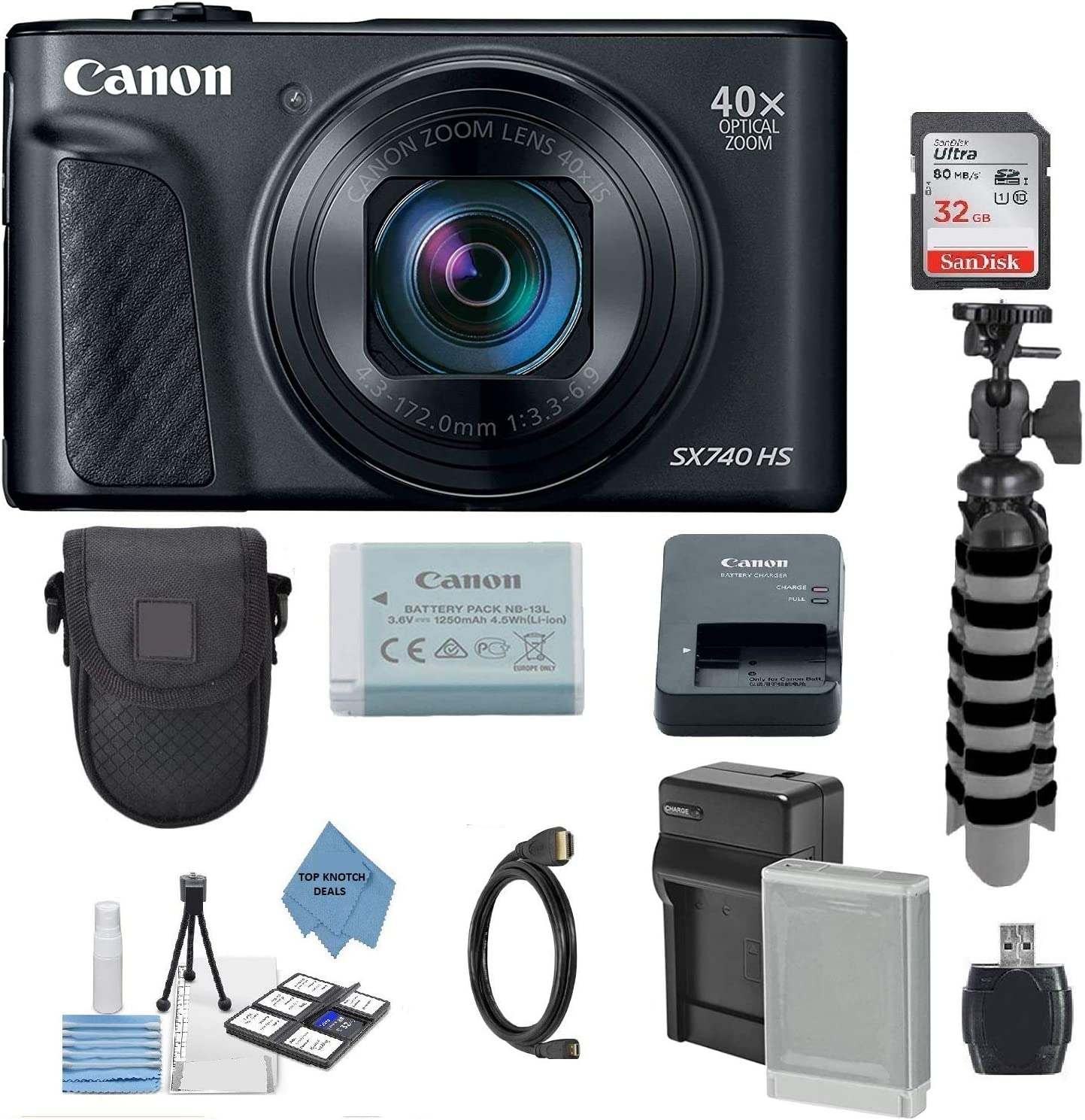 Canon PowerShot SX740 HS Wi-Fi 4K Digital Camera (Black) with 32GB Card + Battery & Charger + Case + Tripod + TopKnotch Cloth Kit