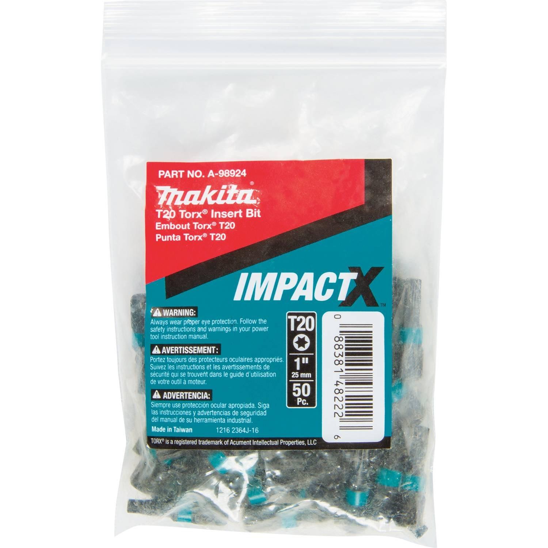 Makita A-98924 Impactx T20 Torx 1″ Insert Bit, 50 Pack, Bulk