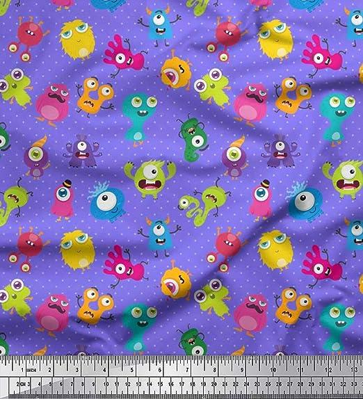 Soimoi Purpura gasa de algodon Tela punto y monstruo dibujos ...