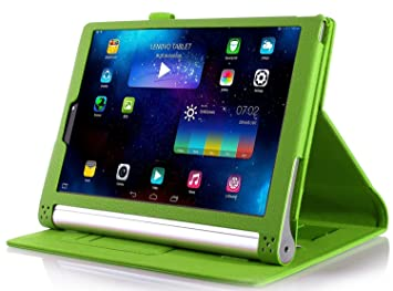 IVSO Lenovo Yoga Tab Plus Funda Case - Slim-Book Case Funda Protectora de Cuero PU para Lenovo Yoga Tab Plus 10 2016 10.1 Inch Tablet(Verde)