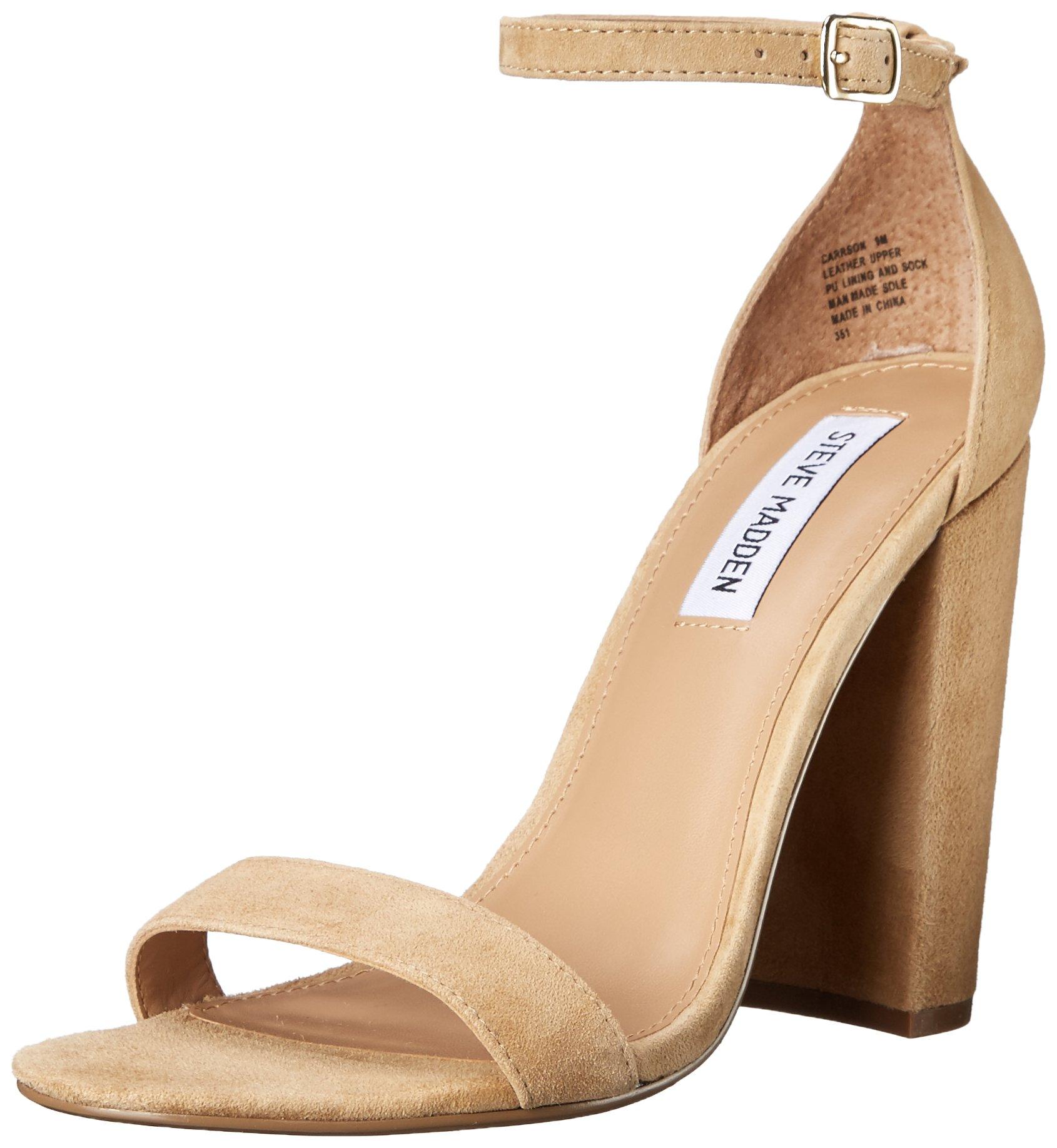 Steve Madden Women's Carrson Dress Sandal, Sand Suede, 9 M US