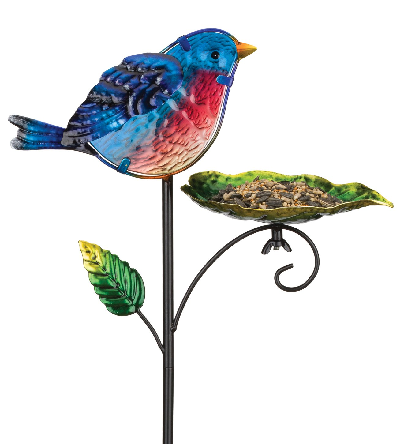 Regal Art & Gift 11 Inches X 6.30 Inches X 29.75 Inches Metal/Glass Bird Feeder Stake - Blue Bird