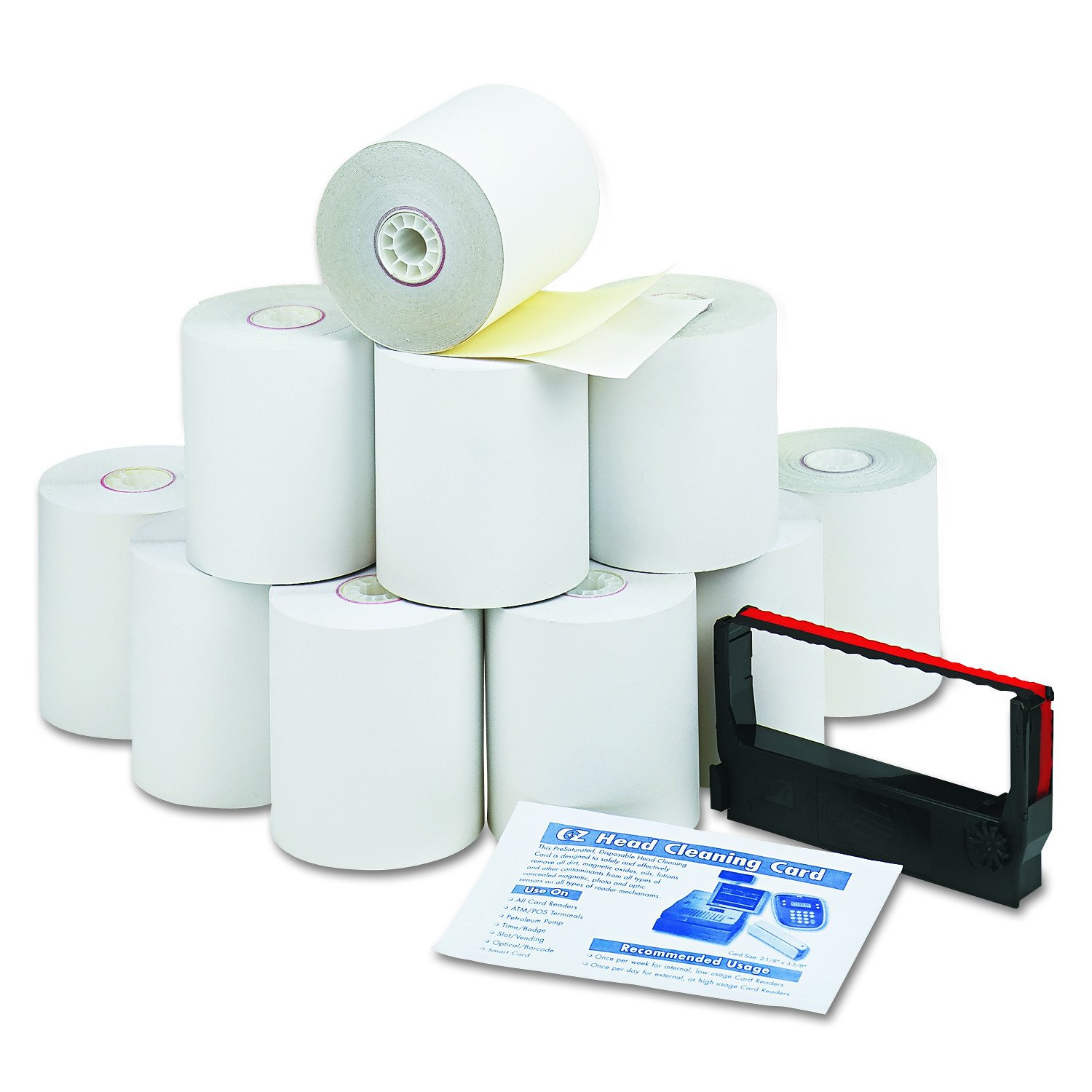PM Company Perfection Credit/Debit Verification Roll Kit for Verifone 250 Printer, 1 Ribbon and Cleaning Card, White/Canary Rolls per Carton (09300)