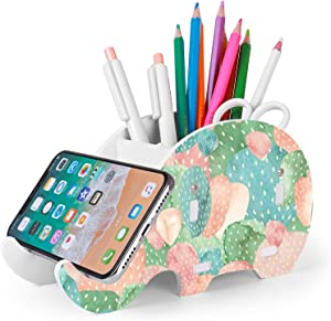 Desk Supplies Organizer, Mokani Cute Elephant Pencil Holder Multifunctional Office Accessories Desk Decoration with Cell Phone Stand Office Supplies Desk Decor Organizer Christmas Gift, Cacti Flower