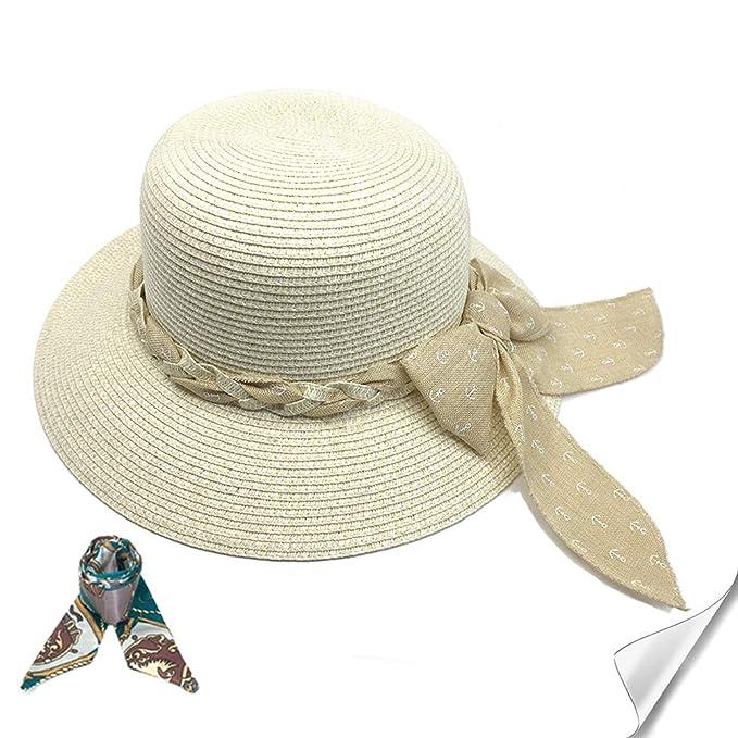 445e8e2e Womens Sun Hat Straw Beach Hats for Women Packable Sun Protection Hat  (Beige1)