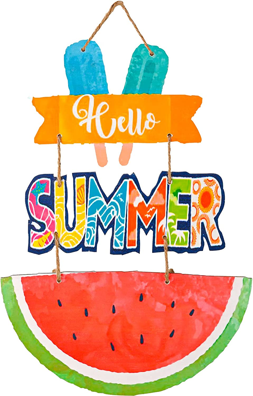 Hello Summer Hanging Door Sign Plaque Home Decoration Watermelon Ice Cream House Wooden Sign Welcome Wall Sign Farmhouse Garden Yard Front Door Wall Porch Wooden Summer Decoration Party Supplies Indoor Outdoor