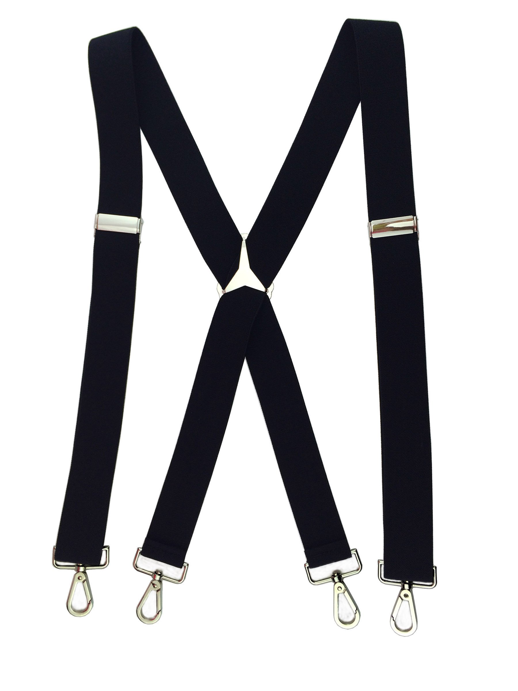 Romanlin Suspenders for Men Elastic X Back 4 Metal Swivel Hook Clip End Adjustable Black
