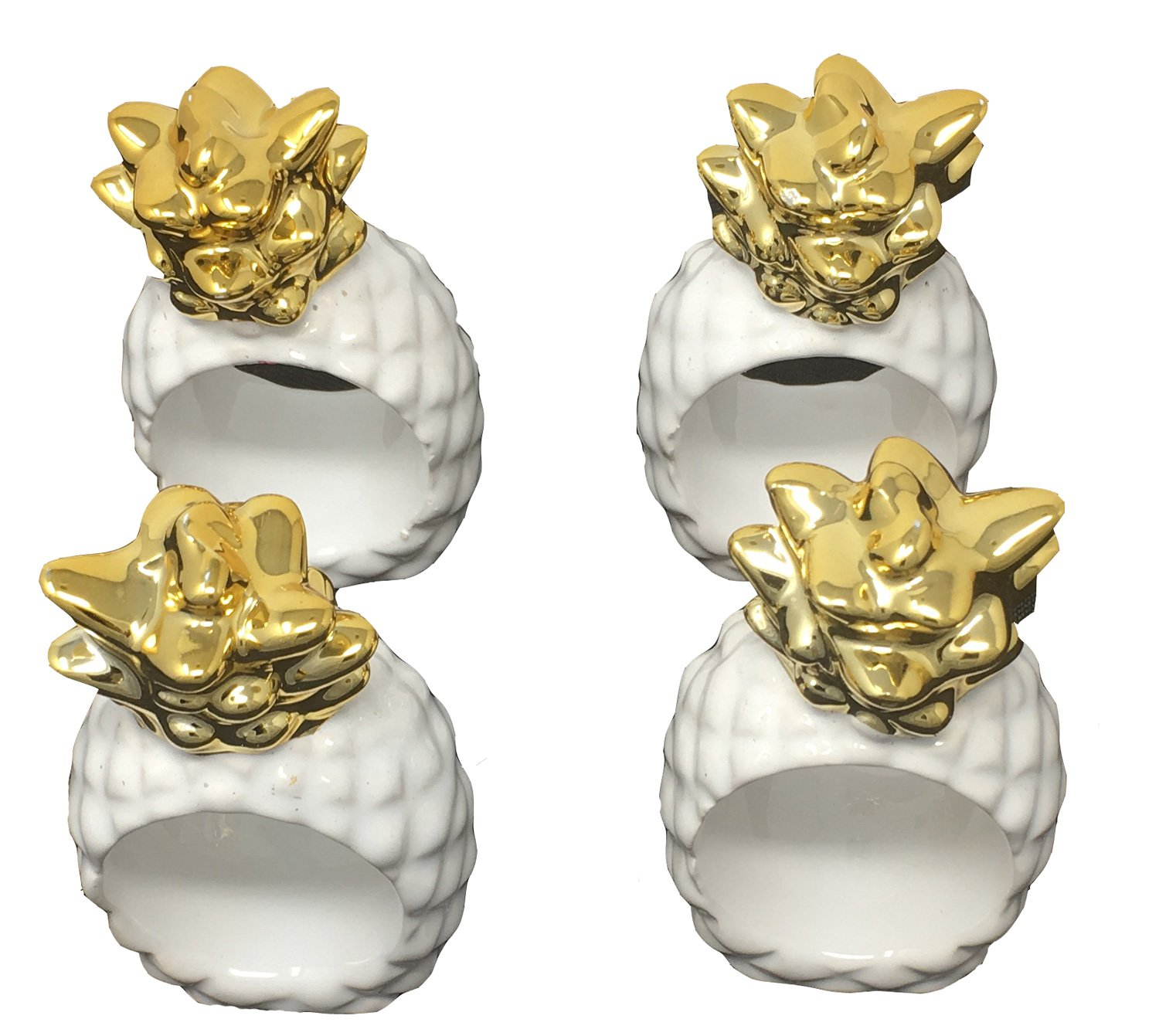 Design Imports Pineapple and Palms Table Linens, Ceramic Napkin Rings, Set of 4, Pineapple
