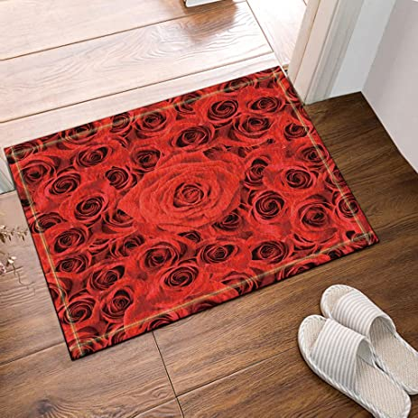 NYMB Romantic Love Decor, Red Rose Bath Rugs, Non Slip Doormat Floor  Entryways
