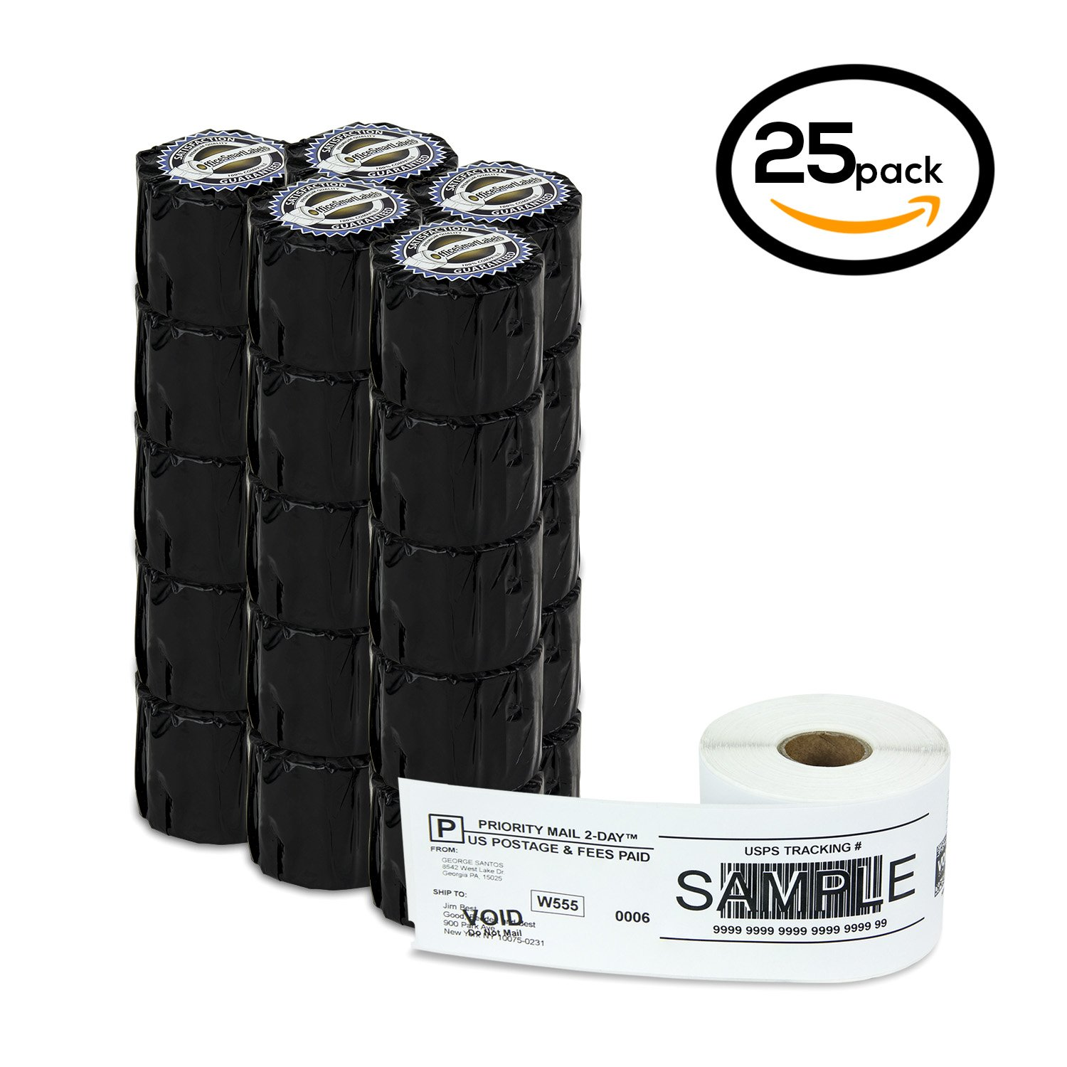 25 Rolls 2-5/16'' x 7-1/2'' 1-Part Internet Postage Labels Dymo 99019 Compatible