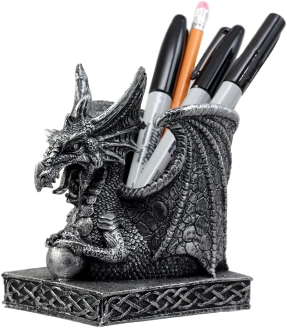 "Ebros Gift Shenlong Spirit Dragon Orb Stationery Holder Figurine 4.75""H Office Desktop Accessory Pen Organizer"