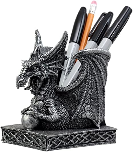 DWK Literary Beasts Twin Double Dragon Celtic Gothic Pen Pencil Desk Organizer