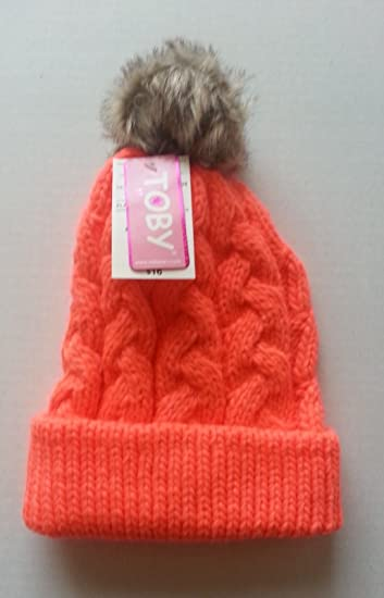 30d540dc2b7 Amazon.com  TOBY Winter Cable Knit Hat with Pom Pom (Size 6-16 ...