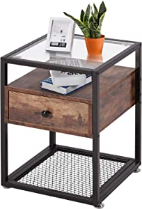 VECELO Nightstand, Tempered Glass End Table, Cabinet with Drawer and Rustic Shelf Decoration in Living Room,Bedroom,Lounge, Brown+Black